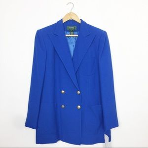 LRL NWT   Vintage Blue Double Breasted Wool Blazer